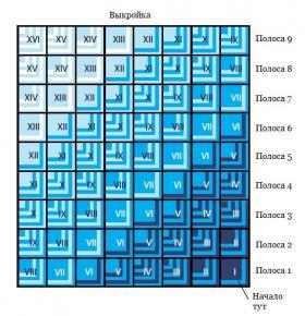 Графичное покрывало спицами из квадратов - Выкройка 1