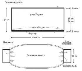 Болеро крючком с узором паучки - Выкройка 1