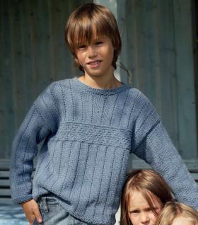 Свободный пуловер для мальчика с теневым узором