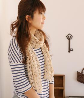 Бежевый ажурный шарф