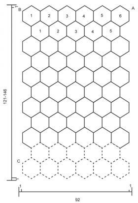 Плед крючком из круглых ажурных мотивов - Выкройка 1