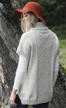 Свободный пуловер с ажуром по центру переда и спинки - Фото 1