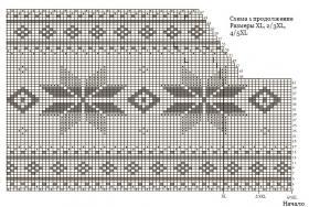 Свитер спицами со снежинками - Схема 4