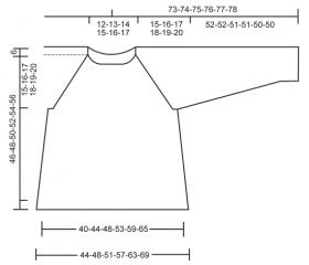Джемпер реглан спицами с ажуром на рукавах - Выкройка 1