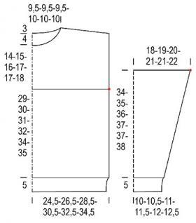 Классический свитер из альпаки со спущенной проймой - Выкройка 1