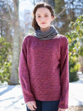 Свободный пуловер с теневым узором