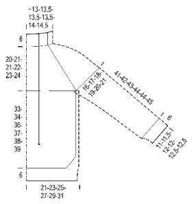 Свитер с воротником стойка и рукавом реглан - Выкройка 1