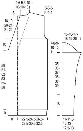 Длинный кардиган с карманами теневыми узорами - Выкройка 1