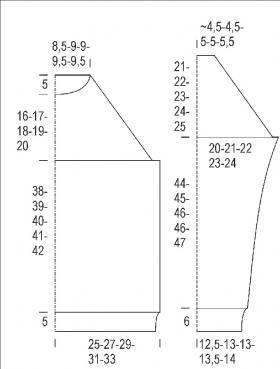 Эффектный пуловер с рукавом реглан - Выкройка 1
