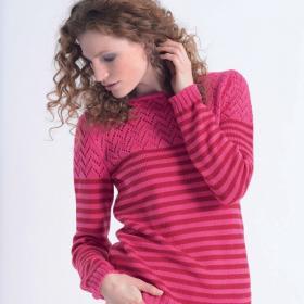Ажурно-полосатый пуловер