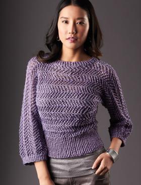 Короткий женский пуловер спицами