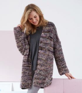 Пальто платочным узором цельновязаное - Фото 1