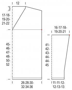 Свитер с глубоким вырезом чулочной вязкой - Выкройка 1