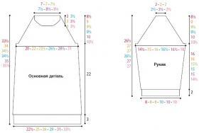 Свитер-платье с рельефными узорами - Выкройка 1