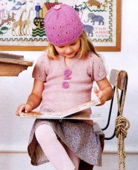 Пуловер с коротким рукавом и шапка для девочки