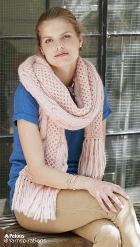 Супер шарф с узором соты и жгуты