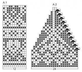 Шапка спицами с мелким рисунком - Схема 1