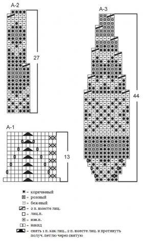 Берет и манишка спицами с мелким жаккардом - Схема 1