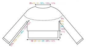 Кроп свитер с круглой кокеткой спицами - Выкройка 1