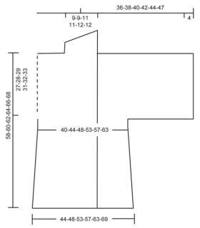 Свободный жакет спицами с воротником шалька - Выкройка 1
