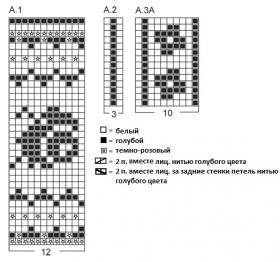 Жаккардовые носки с диагональным узором - Схема 1