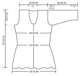Ажурный женский жакет спицами с декольте - Выкройка 1