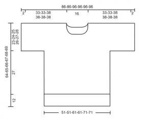 Короткий джемпер спицами с ажурными шевронами - Выкройка 1