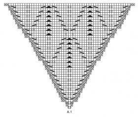 Шаль нежные листья - Схема 1
