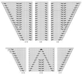 Легкая шаль с ажурными листьями - Схема 2