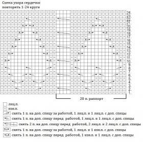 Гольфы с теневым узором сердечки - Схема 1