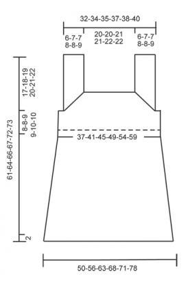Топ спицами с квадратным вырезом и ажуром - Выкройка 1