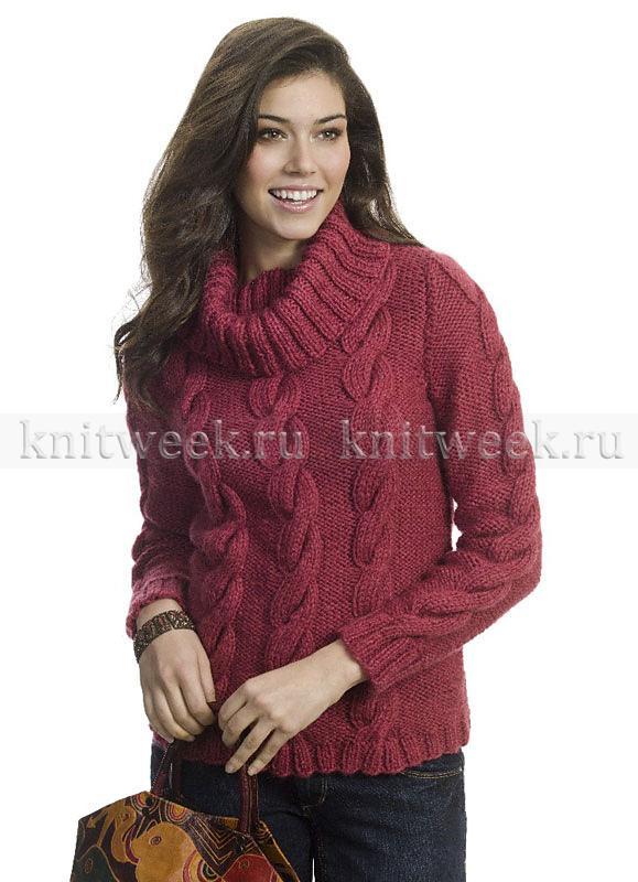 свитер спицами с узором из жгутов