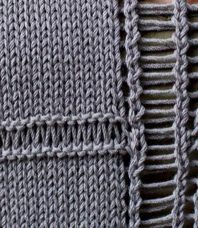 Пуловер с ажурными полосами - Фото 1