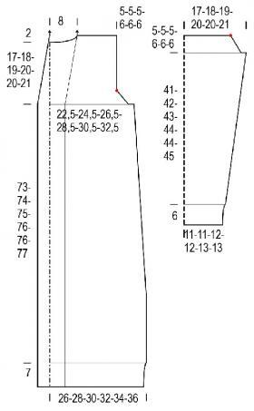 Длинный кардиган с карманами и узором из жгутов - Выкройка 1