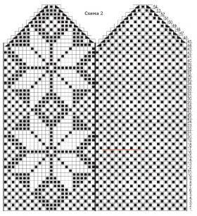 Варежки с узором снежинки - Схема 2