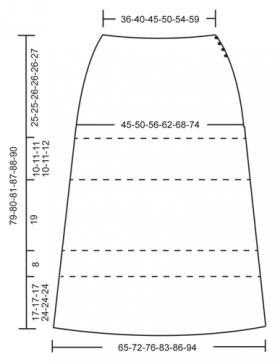 Юбка миди крючком с ажурными узорами - Выкройка 1
