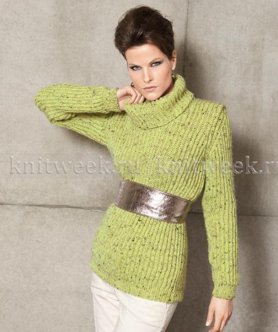 удлиненный свитер узором английская резинка