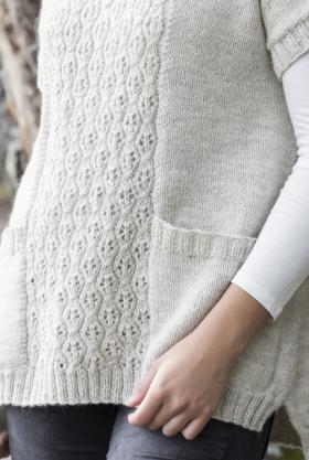 Свободный пуловер с ажуром по центру переда и спинки - Фото 2