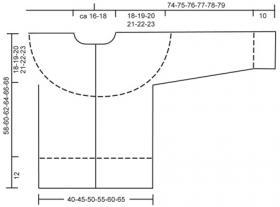 Кардиган на пуговицах с круглой кокеткой - Выкройка 1