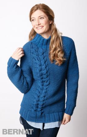 Пуловер реглан с объемной косой