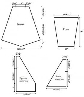 Кардиган накидка спицами со швами налицо - Выкройка 1