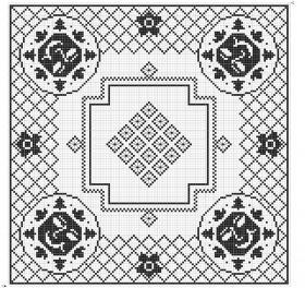 Филейная квадратная салфетка с паучками - Схема 1