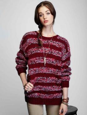 Пуловер спицами с полосами из пряжи букле