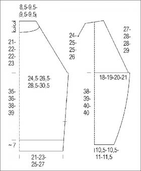 Пуловер с рельефными треугольниками - Выкройка 1