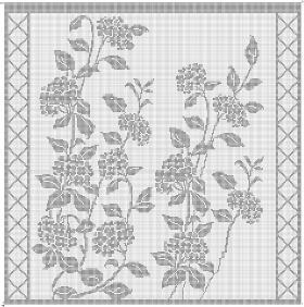 Филейная занавеска с цветами - Схема 1