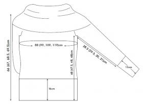 Туника спицами с длинным рукавом и воротником хомут - Выкройка 1