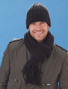 Шапка и шарф спицами для мужчин