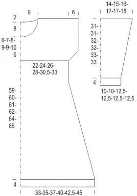 Свободное платье с объемным воротником - Выкройка 1