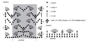 Ажурный жакет крючком с волнистым краем - Схема 1