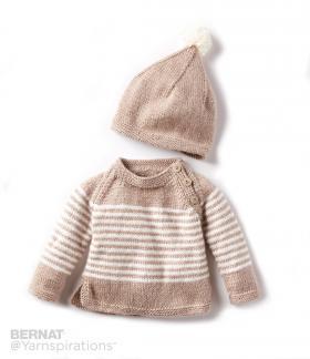 Пуловер в полоску на пуговицах и шапка - Фото 1
